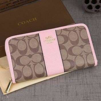 Coach Trending Women Logo Print Leather Zipper Wallet Purse Pink I