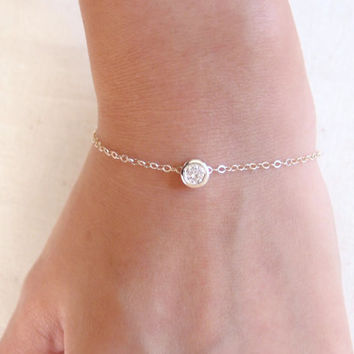 Le Petite Bracelet - Sterling Silver Crystal Bracelet - Dainty Everyday Jewelry
