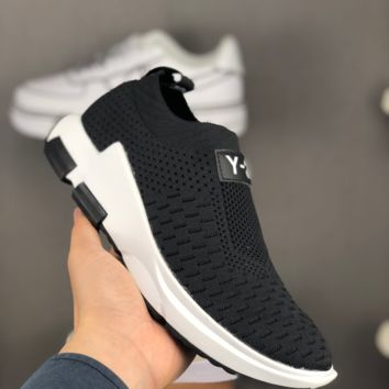 HCXX A1448 Adidas Y3 Pure Slip-on Knit Sports Casual Running Shoes Black White