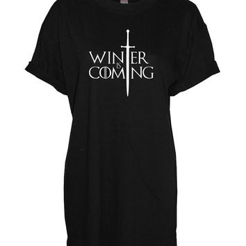 Winter is coming crew neck shirt unisex womens mens ladies  print tshirt