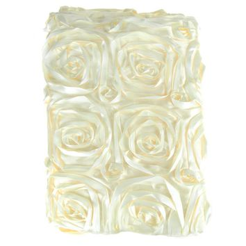 Satin Rosette Table Runner with Serged Edge, Ivory, 14-Inch x 108-Inch