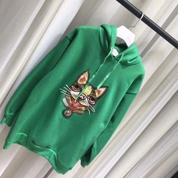 ONETOW Gucci Fashion dog Embroidered Sweatshirt Pullover Hoodie