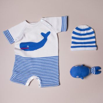 Estella Organic Cotton Baby Gift Set With Short-Sleeve Whale Romper, Hat, and Handmade Whale Toy 0–3M