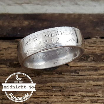 New Mexico 90% Silver State Quarter Coin Ring