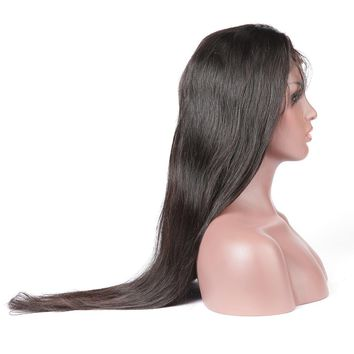 Brazilian Lace Front Human Hair Wig Straight Natural Color Remy Hair