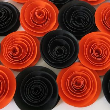 "Halloween Flowers, set of orange and black roses, 12 party favors, 1.5"" rosettes, Fall table centerpiece ideas, preppy room decor"