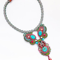 Statement soutache necklace. Turquoise jewelry. Handmade soutache necklace. Colorful jewelry.