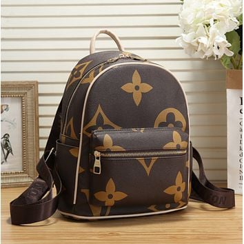 LV Louis Vuitton Women Daypack School Bag Leather Backpack