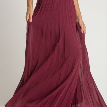 Petite Simone Burgundy Pleated Maxi Skirt