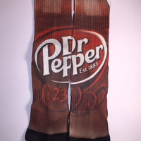 Custom made, nike elite Dr. Pepper Can socks for kids, adults, male or female. Perfect socks for any sport or just for fashion!