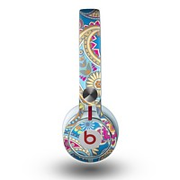 The Blue & Pink Layered Paisley Pattern V3 Skin for the Beats by Dre Mixr Headphones