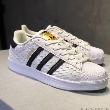 adidas superstar ii women casual fashion multicolor stripe weave plate shoes sneakers