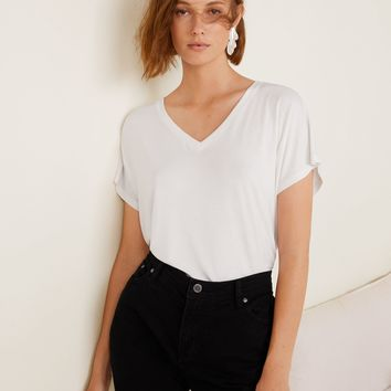 V-neck t-shirt - Women | MANGO United Kingdom