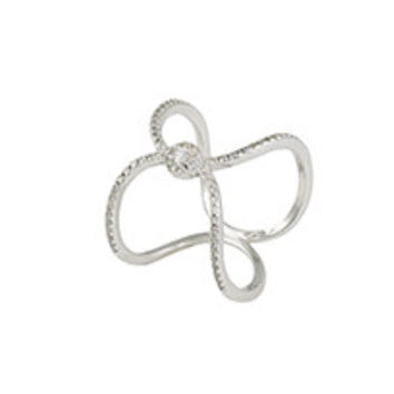 Rhodium ring with (17) 2mm round white CZ's