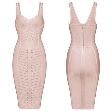 Women's Fashion Sexy Spaghetti Strap Metal Club Bandages Dress Prom Dress [4919744452]