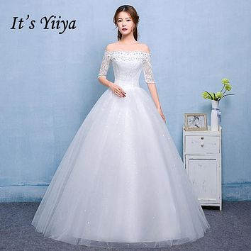 Free Shipping 2017 Vestidos De Novia Boat neck Lace Sleeves Wedding Dresses White Cheap Bride Frocks Real Picture Plus size H605