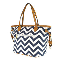 Navy & White Chevron Fabric Tote Bag