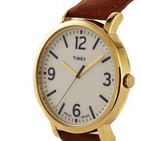 Timex Originals Leather Strap Watch With Gold Detail T2P527 at asos.com