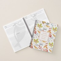 Watercolor Autumn Leaves Recipe Notebook |
