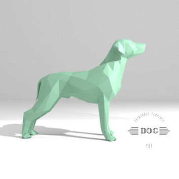 Printable DIY template (PDF).  Dog low poly paper model. 3D animal paper sculpture. Origami.