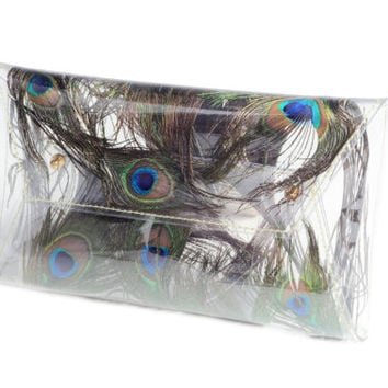 Peacock feathers peacock peackock feathers bag real feathers transparent purse evening bag clear purse unique bag Clear clutch transparent