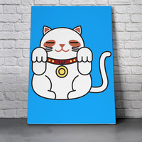 Canvas Wall Art Print - Lucky Cat in Blue by Miguel Avila