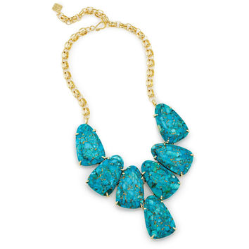 Kendra Scott: Harlow Statement Necklace In Bronze Veined Turquoise