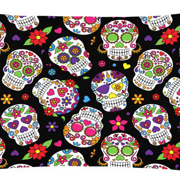 Day of the Dead Black Canvas Fabric Decorative Pillow BB5116PW1216