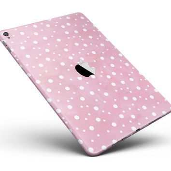 "The Pink Watercolor Surface with White Polka Dots Full Body Skin for the iPad Pro (12.9"" or 9.7"" available)"