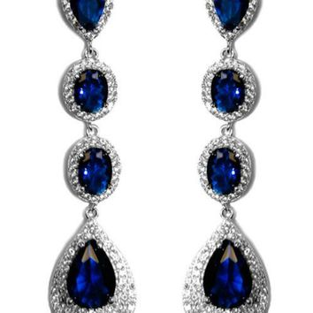 Chloey Sapphire Blue Linear Long Chandelier Earrings | Cubic Zirconia | Silver