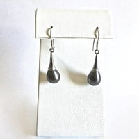 Elegant Sterling Silver French Hook Earrings with Lustrous Majorca Gray Pearls, Dangles, Sterling and Pearls