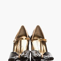 Lanvin Black Patent Leather T-strap Bow Pumps for women | SSENSE