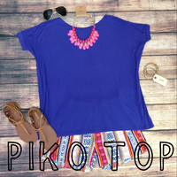 SHORT SLEEVE PIKO IN INDIGO
