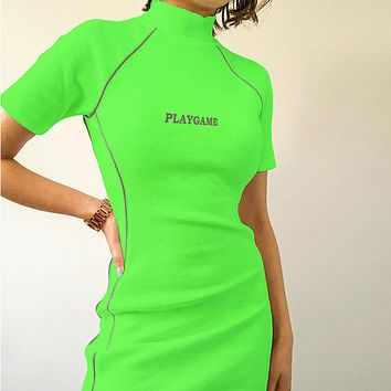 Women's new women's reflective strip stitching letters embroidered dress