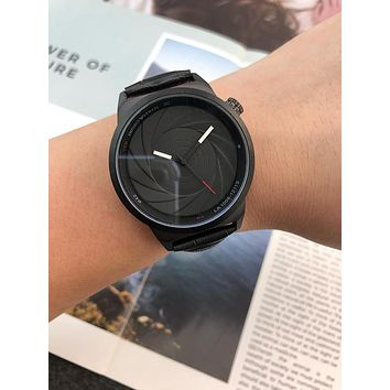 PEAP A0031 Armani Spiral Dial Fashion Leather Watcahaband Watches Black