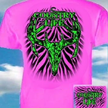 Country Life Outfitters Pink & Green Stripe Deer Skull Head Hunt Vintage Bright T Shirt