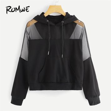 ROMWE Black Drawstring Pocket Sheer Mesh Panel Solid Hoodie Women Casual Autumn Hooded Long Sleeve Pullovers Spring Sweatshirt