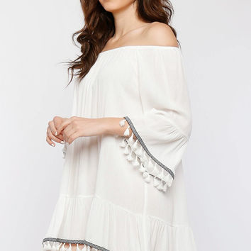 Magali Off the Shoulder Tassel Trim Dress