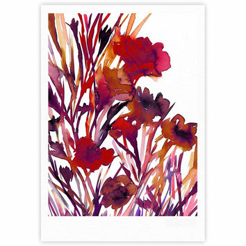 "Ebi Emporium ""Pocket Full Of Posies Red"" Maroon Purple Fine Art Gallery Print"