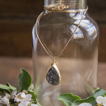 TEARDROP DRUZY PENDANT - Long Gold Chain, Natural Raw Druzy Stone, Raw Gemstone Necklace, Titanium Druzie, Drusy, Boho Chic, Long Pendant