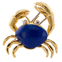 Tiffany & Co. Lapis and Diamond Crab Brooch