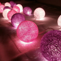 Grape Peach and Purple Set Mixed cotton balls string light with 3 m. wire and adapter (20 Balls/Pack)