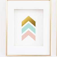 Chevron Arrows Print - Pink and Mint Gold Wall Print - Abstract Wall Art - Printed Gold Foil - Livingroom Decor - Nursery Decor