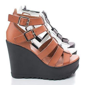 Charge01 By Bamboo, Open Toe Caged Buckle Platform Wedge Sandal