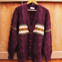 vintage oversized button down wool cardigan. size L to XL. unisex. granpa sweater