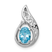 Sterling Silver Filigree Diamond And Swiss Blue Topaz Pendant