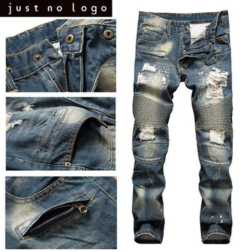 Men Deep Blue Ripped Biker soft Denim Jeans