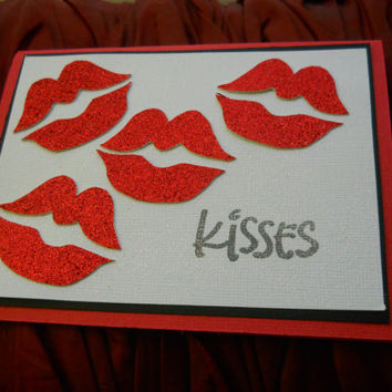Valentine's Day Card-Red Kisses