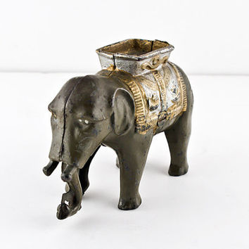 A.C. Williams Mechanical Elephant Cast Iron Bank, Swinging Trunk, Original