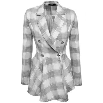 Spring autumn high fashion trend street women's Plaid Double-Breasted Flouncing Trench Coat Casual Outerwear S-XXL